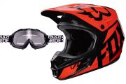 Zestaw enduro Kask Fox V1 Orange Gogle O'neal B-Flex Launch Black