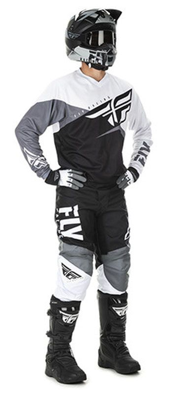 Fly Racing F 16 Spodnie Biało Czarno Szare