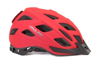 Czerwony kask mtb z lampą led Author Pulse Led X8 52-58cm